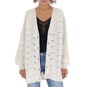 See By Chloe lace effect patterned knit cardigan in crystal white 106 size M